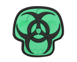 BIOHAZARD SKULL PVC VELCRO PATCH IN GLOW I...